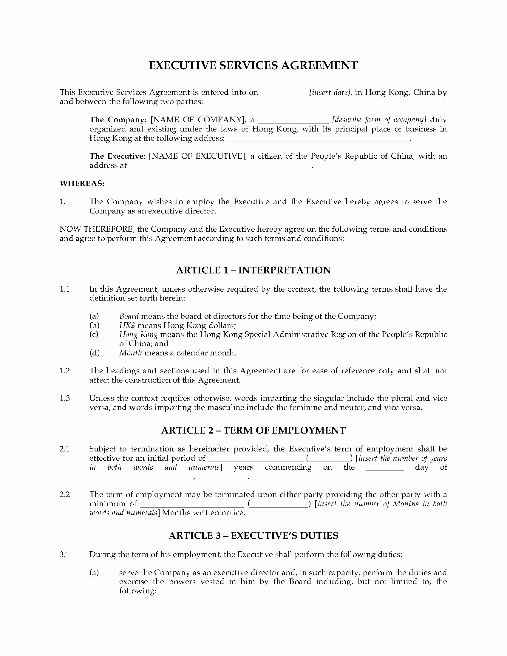 Non Compete Agreement Georgia Template Unique Hong Kong Executive Services Agreement