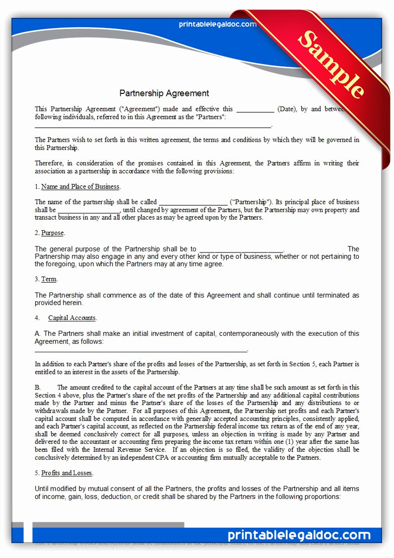 Non Profit Collaboration Agreement Template Fresh Free Printable Partnership Agreement form Generic