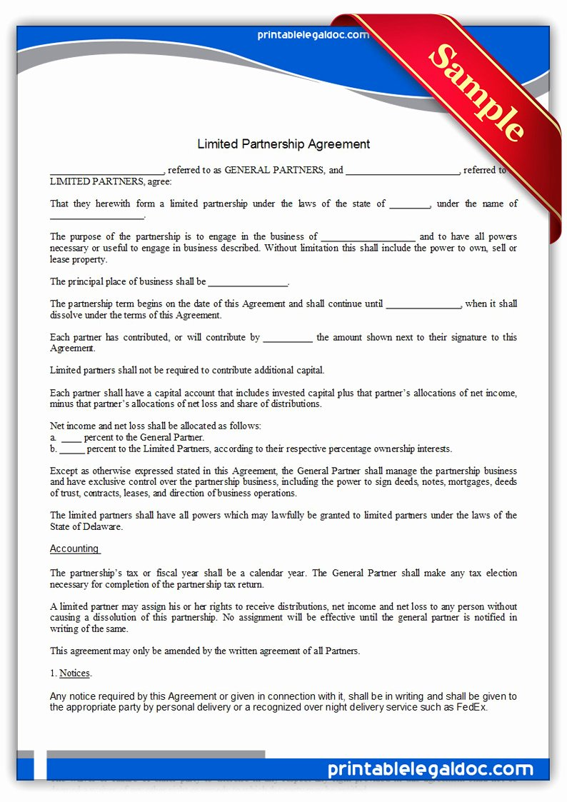 Non Profit Collaboration Agreement Template Luxury Free Printable Limited Partnership Agreement form Generic