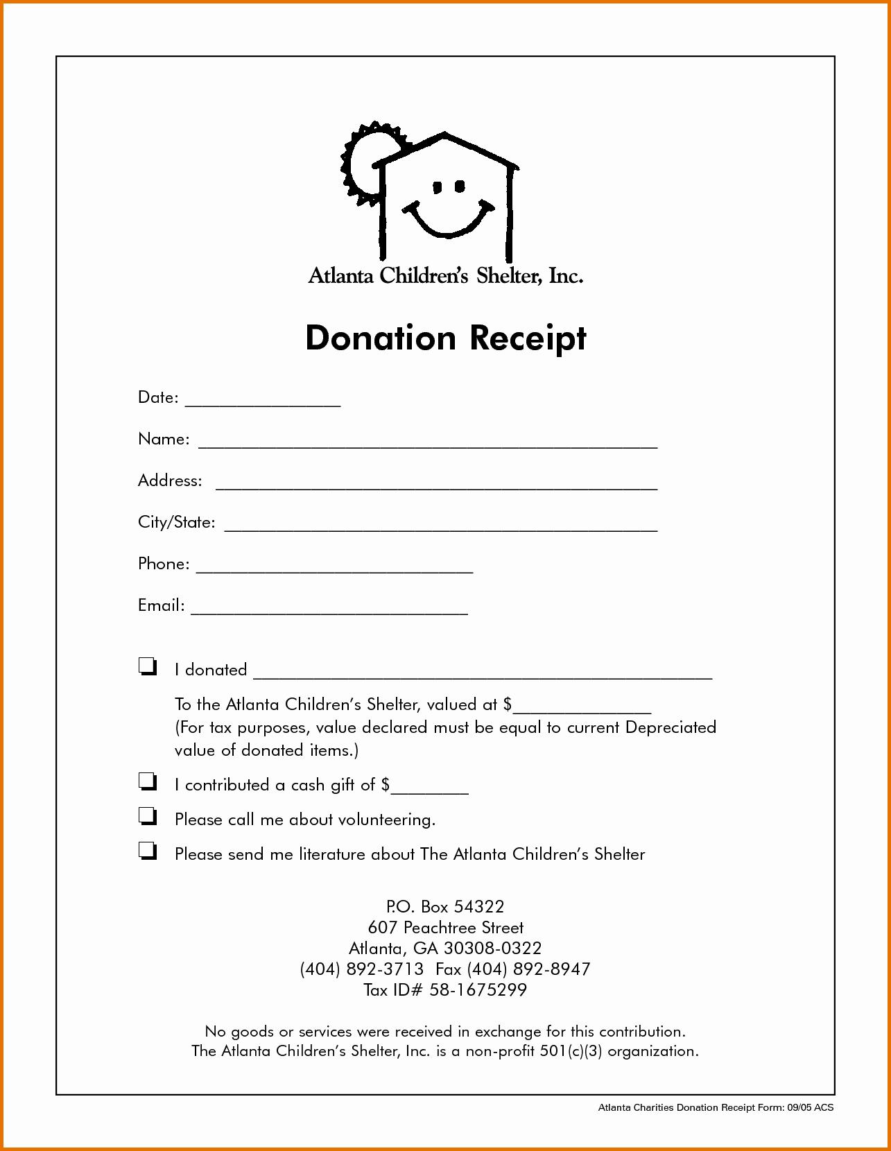 Non Profit Donation Receipt Template Beautiful Non Profit Donation Receipt Templatereference Letters