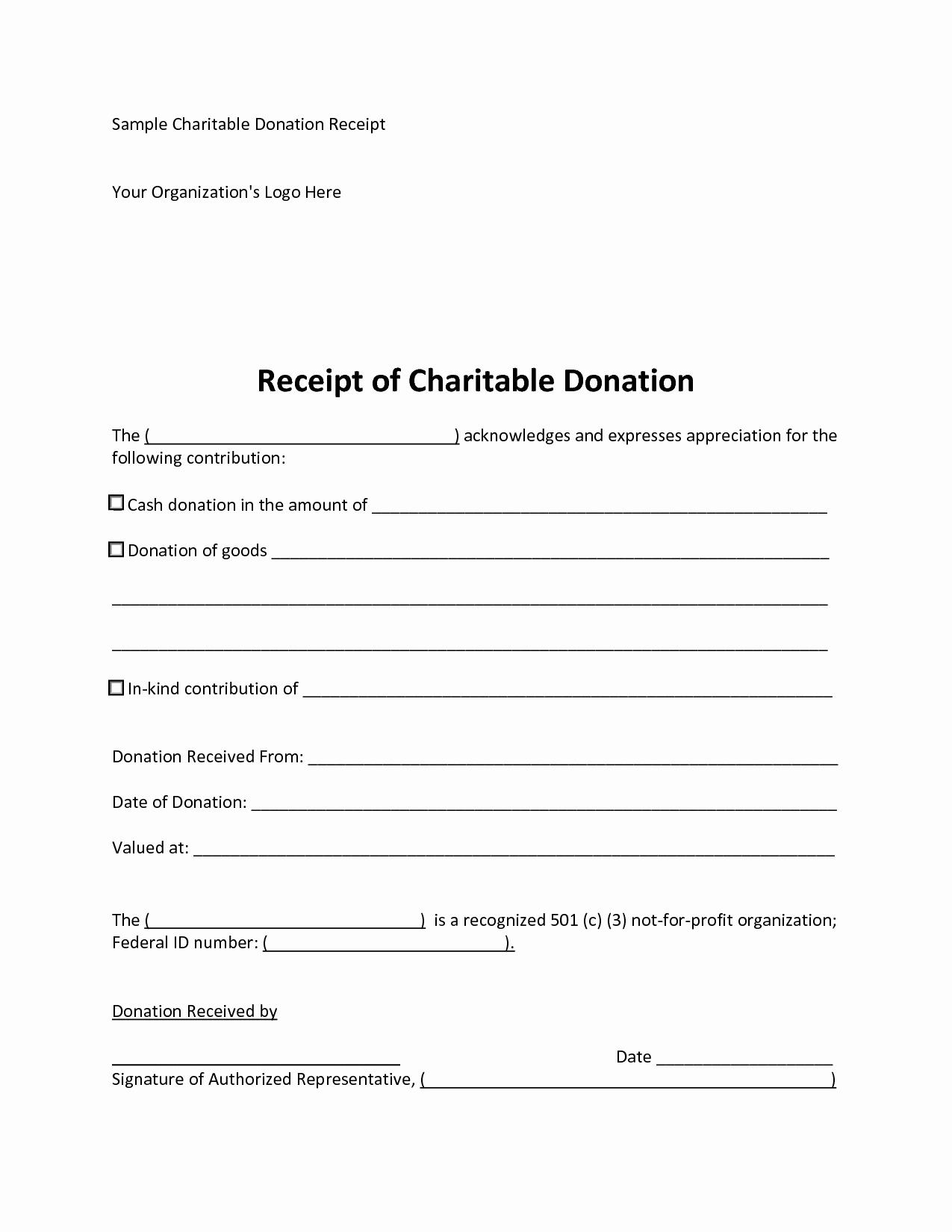 Non Profit Donation Receipt Template Fresh 10 Best Of Donation Receipt Template Donation