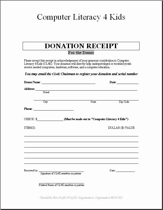 Non Profit Receipt Template Inspirational 4 Donation Receipt Templates Excel Xlts