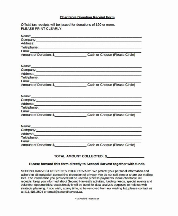 Nonprofit Donation Receipt Template Awesome Receipt form In Pdf