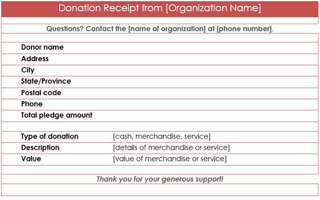 Nonprofit Donation Receipt Template Elegant Donation Receipt Template 12 Free Samples In Word and Excel