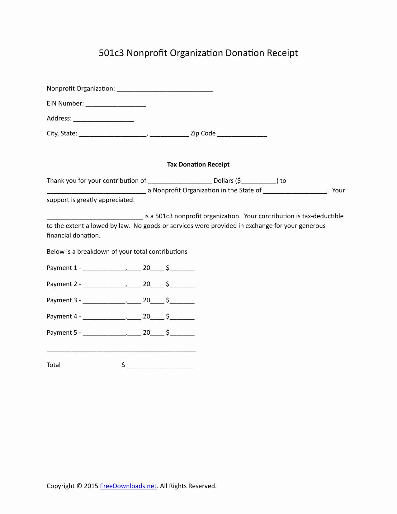 Nonprofit Donation Receipt Template Unique Download 501c3 Donation Receipt Letter for Tax Purposes