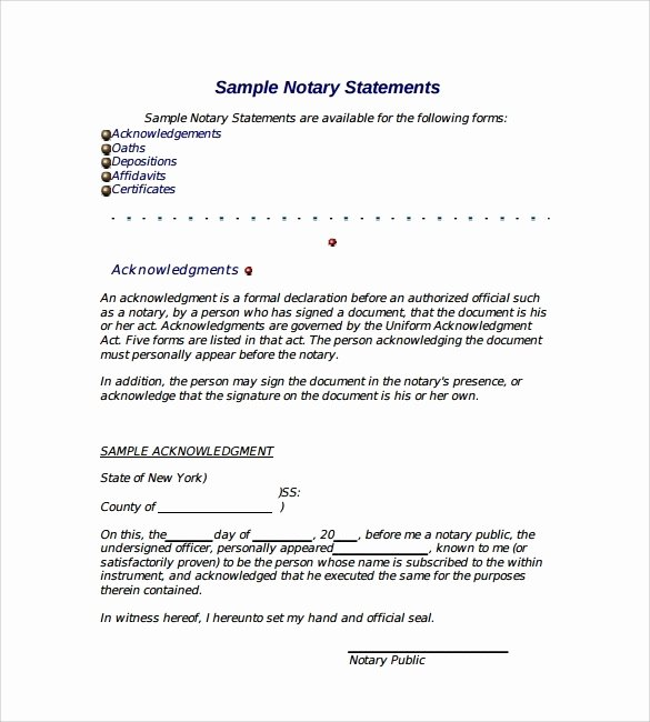 Notarized Letter format Pdf Fresh Notarized Letter