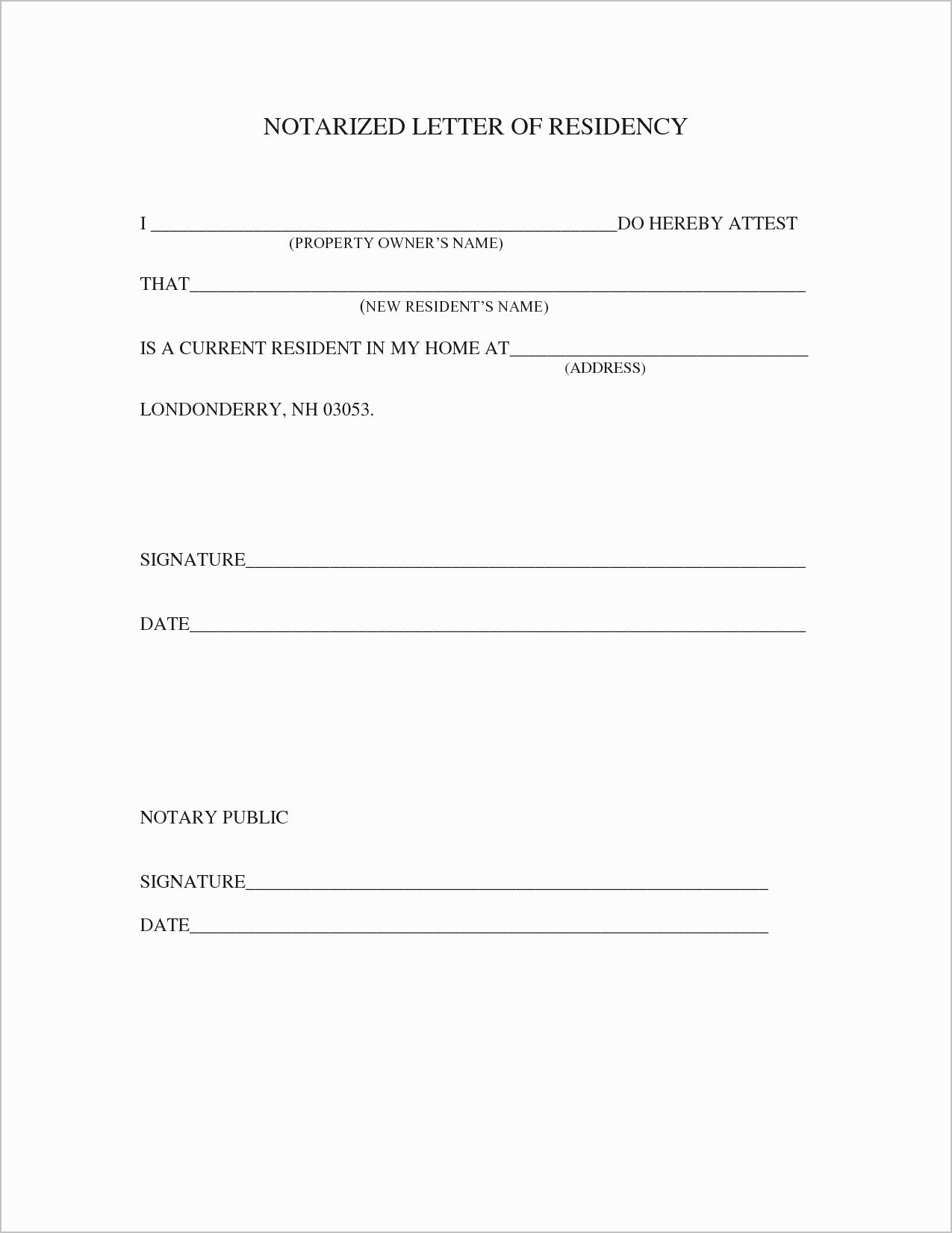 Notarized Letter format Pdf Fresh Proof Residency Letter Template Pdf Samples