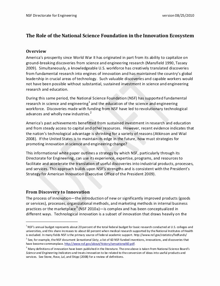 Nsf Grfp Recommendation Letter Lovely Nsf In the Innovation Ecosystem