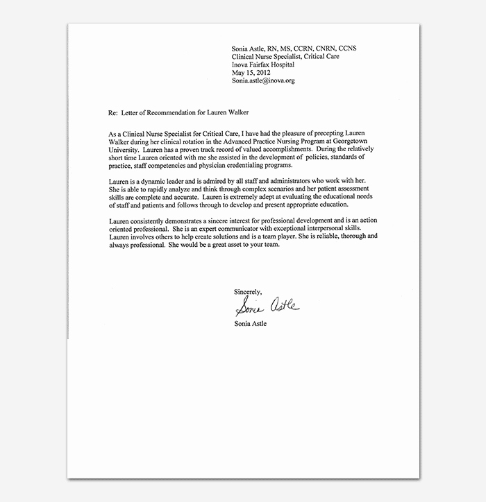 Nurse Letter Of Recommendation Awesome Nursing Reference Letter