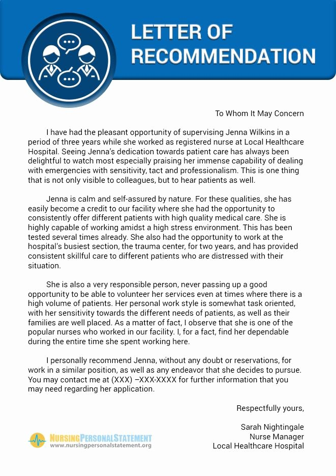 Nurse Letter Of Recommendation New Here is A Nice Example Of Nursing Letter Of Re Mendation