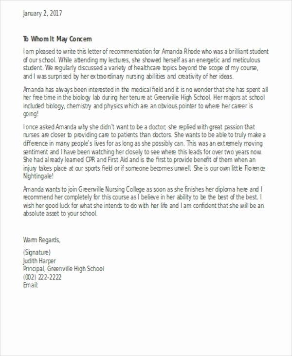 Nurse Letter Of Recommendation Unique Letter Re Mendation Nursing School