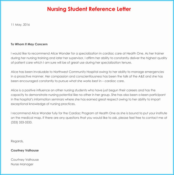 Nurse Letter Of Recommendation Unique Nursing Reference Re Mendation Letters 9 Sample Letters