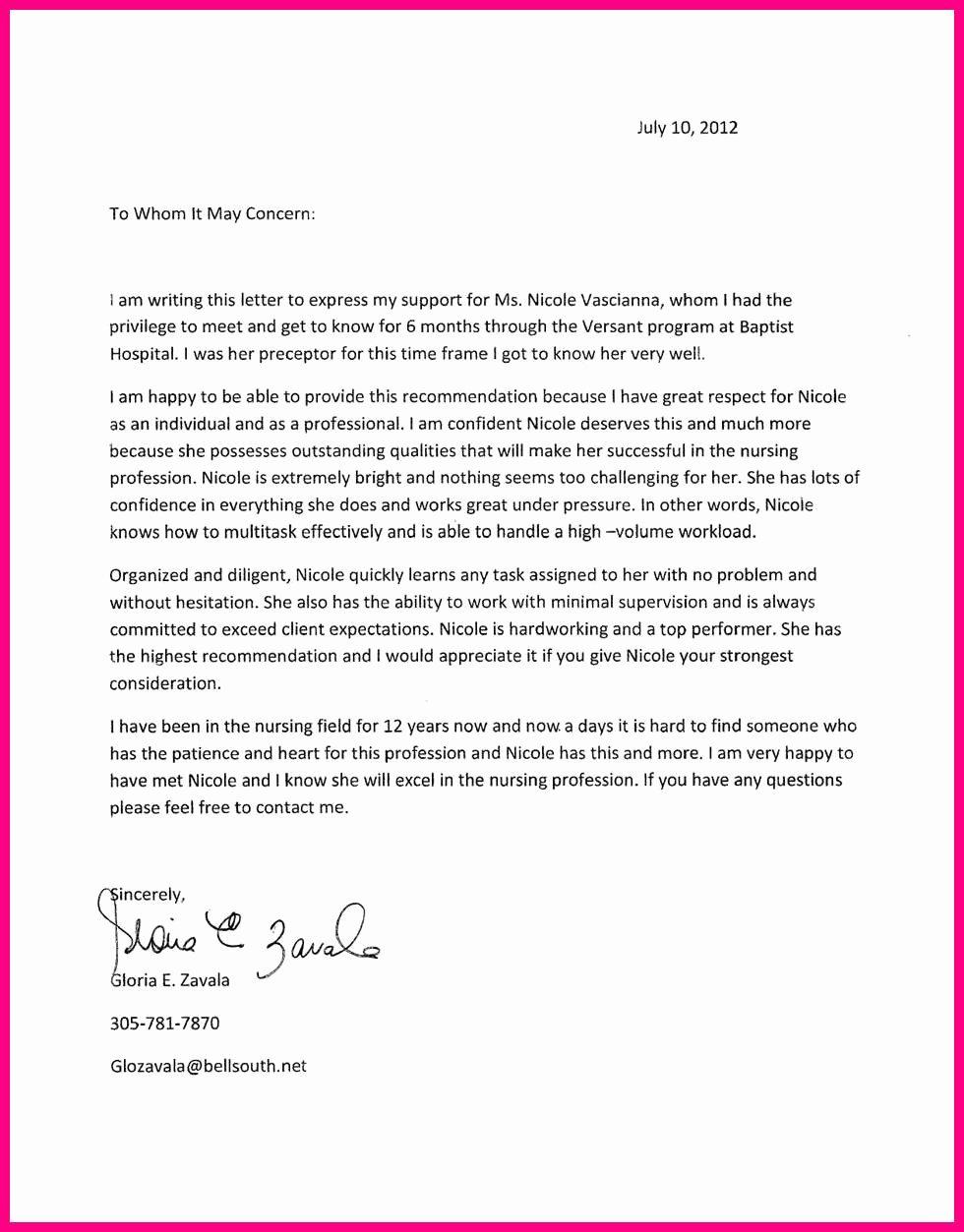 Nurse Practitioner Letter Of Recommendation Elegant 20 Of Nurse Practitioner Re Mendation Letter
