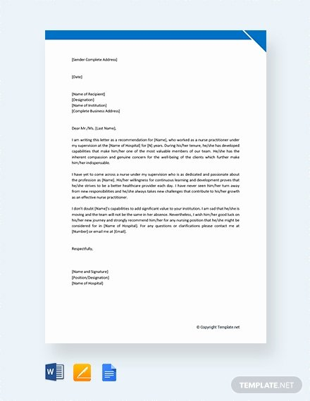 Nurse Practitioner Letter Of Recommendation Fresh 95 Free Letter Reference Templates