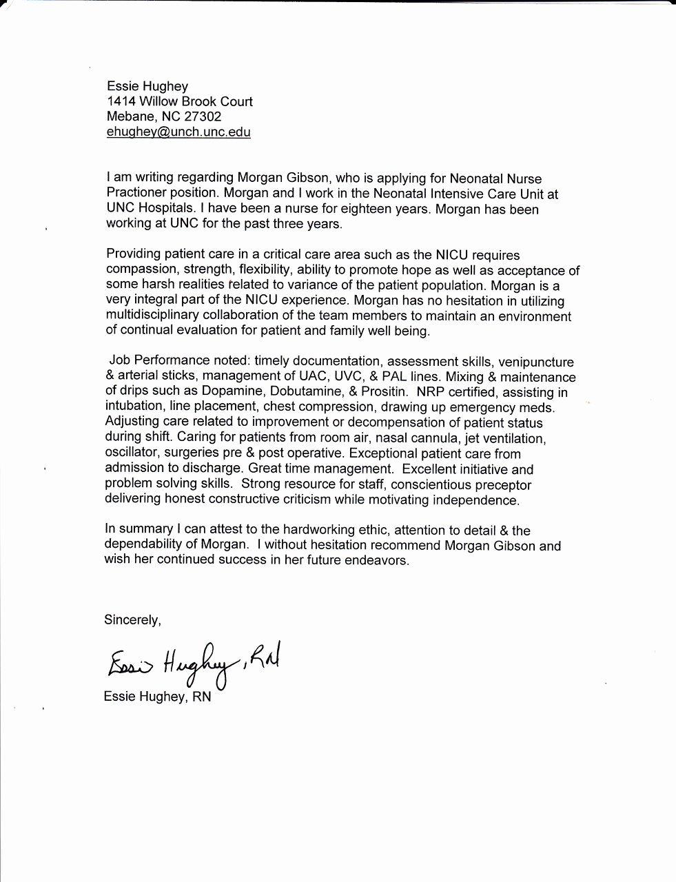 Nurse Practitioner Letter Of Recommendation Lovely Morgan Gibson Neonatal Nurse Practitioner