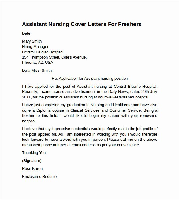 Nursing Cover Letter format Lovely 10 Sample Nursing Cover Letter Examples to Download