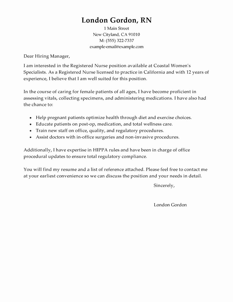 Nursing Cover Letter format Luxury the Best Basic Nursing Cover Letters – Perfect Resume format