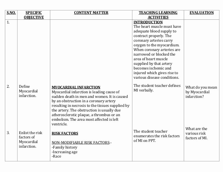 Nursing Education Plan Template Best Of Lesson Plan On Myocardial Infarction