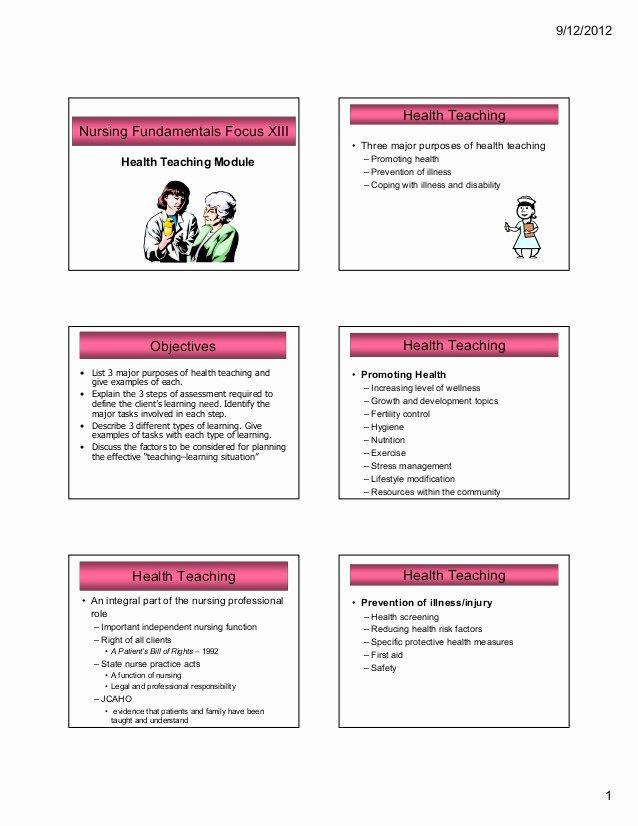 Nursing Education Plan Template Elegant Nursing Health Teaching