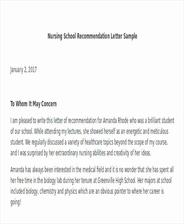 Nursing Letter Of Recommendation Awesome 45 Free Re Mendation Letter Templates