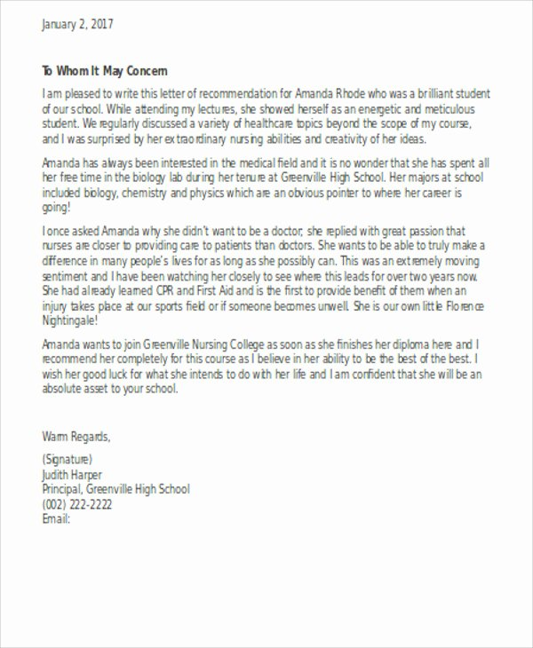 Nursing Letter Of Recommendation Example Fresh 13 Sample Nursing Reference Letter Free Sample Example