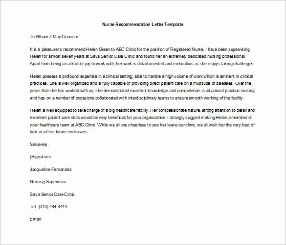 Nursing Letter Of Recommendation Example Fresh 8 Job Re Mendation Letters Free Sample Example