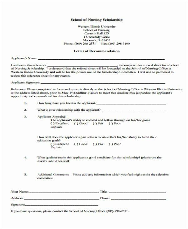 Nursing Letter Of Recommendation Example Fresh 9 Scholarship Re Mendation Letter Samples & Templates