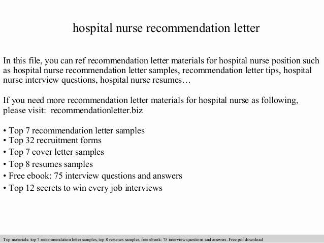 Nursing Letter Of Recommendation Example New Hospital Nurse Re Mendation Letter