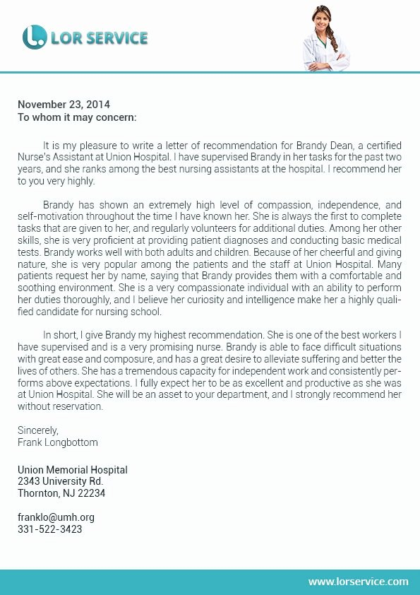 Nursing Letter Of Recommendation Example New Pin by Lor Service On Nursing Letter Of Re Mendation