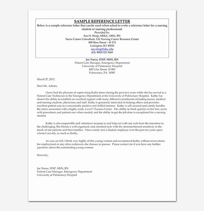 Nursing Letter Of Recommendation Example Unique Nursing Reference Letter
