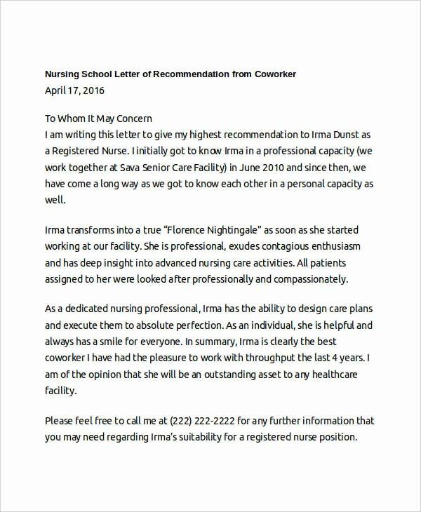 Nursing Recommendation Letter Sample Best Of Coworker Re Mendation Letter 10 Free Word Pdf