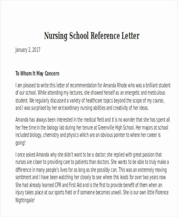 Nursing School Letter Of Recommendation Lovely Nursing School Letter Re Mendation Letter Of