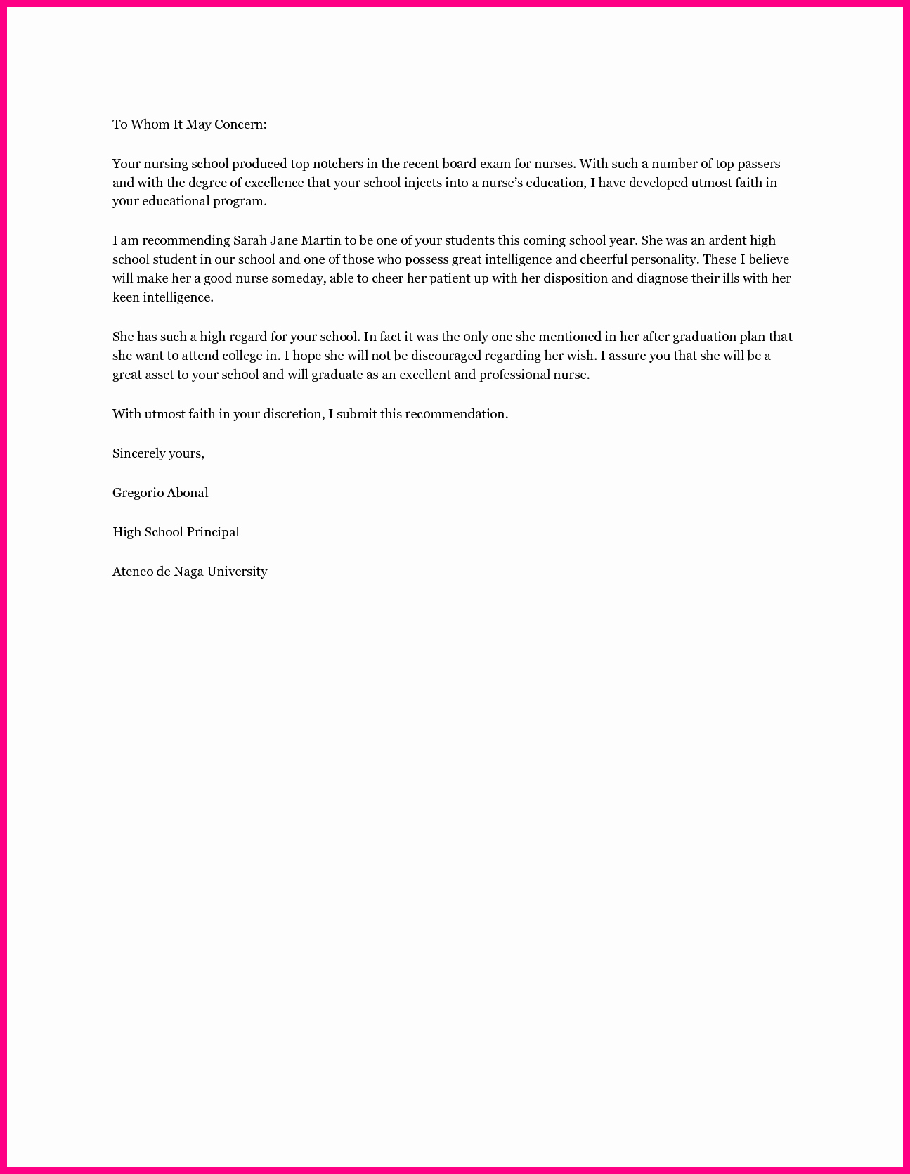 Nursing School Letter Of Recommendation Unique Re Mendation Letter Nursing School – Templates Free