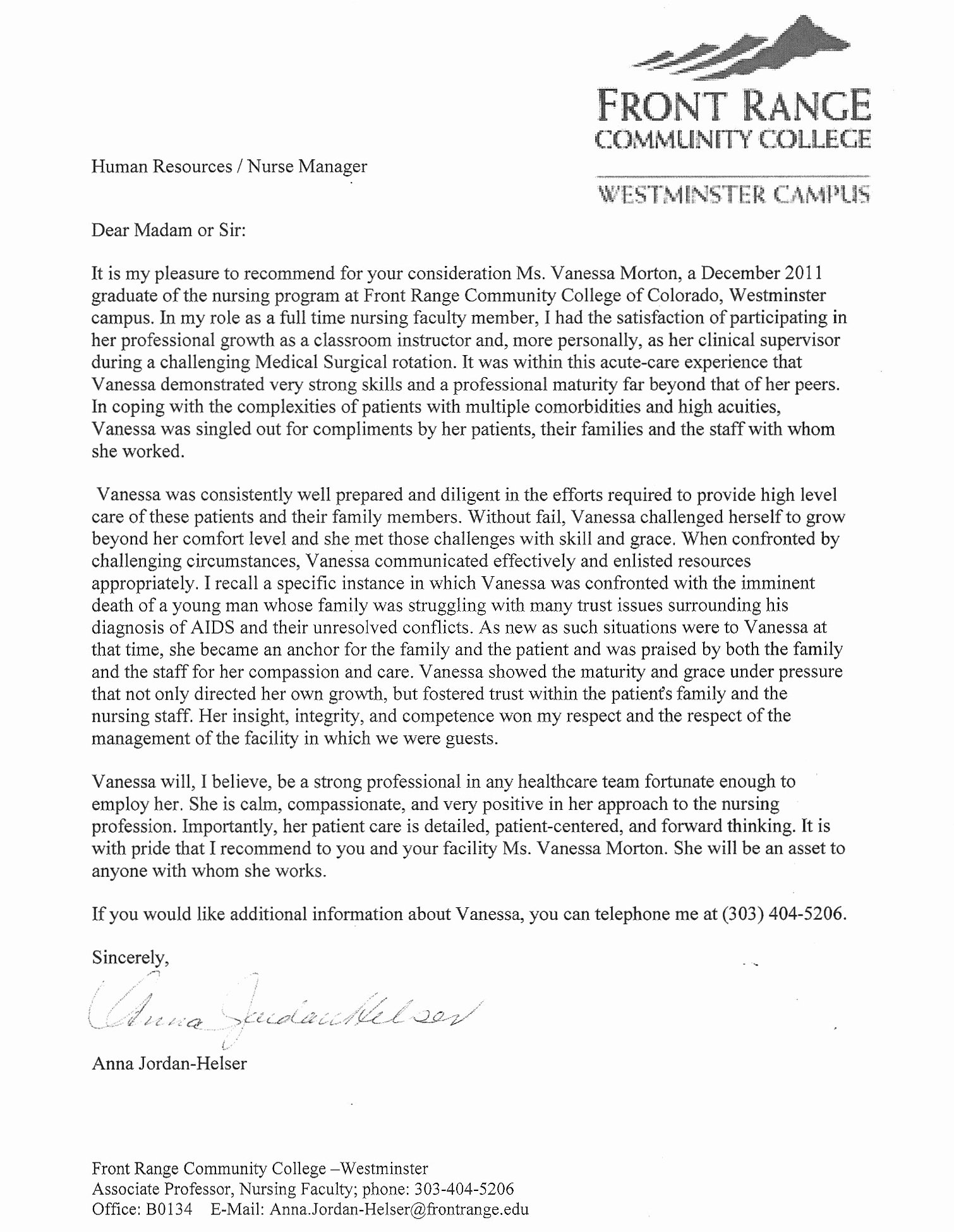 Nursing School Recommendation Letter Best Of Letter Of Re Mendation
