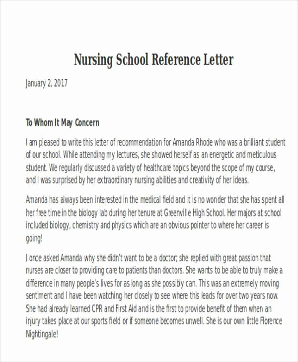 Nursing School Recommendation Letter Best Of Letter Re Mendation for Nursing School Student Canre