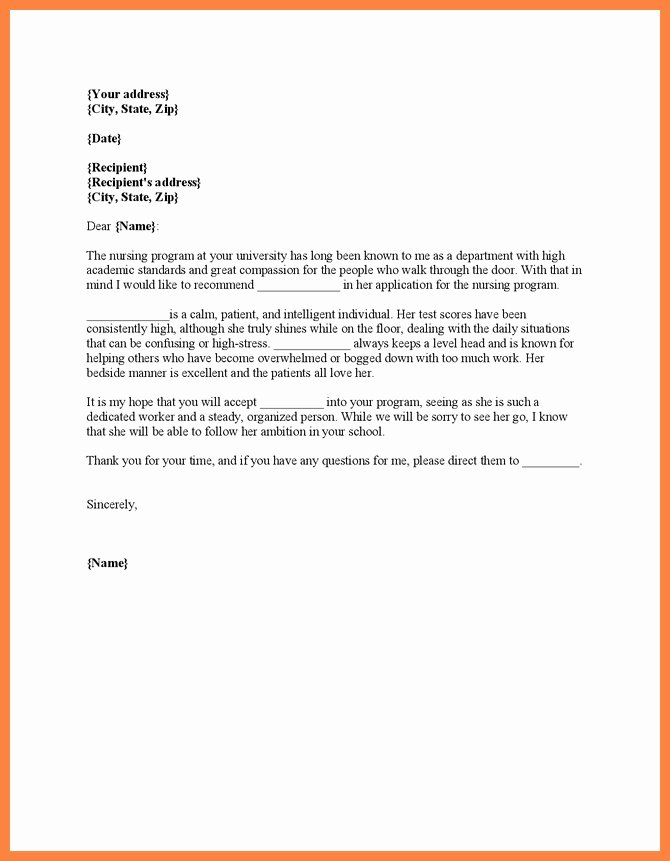 Nursing School Recommendation Letter Elegant Nursing School Letter Re Mendation Letter Of
