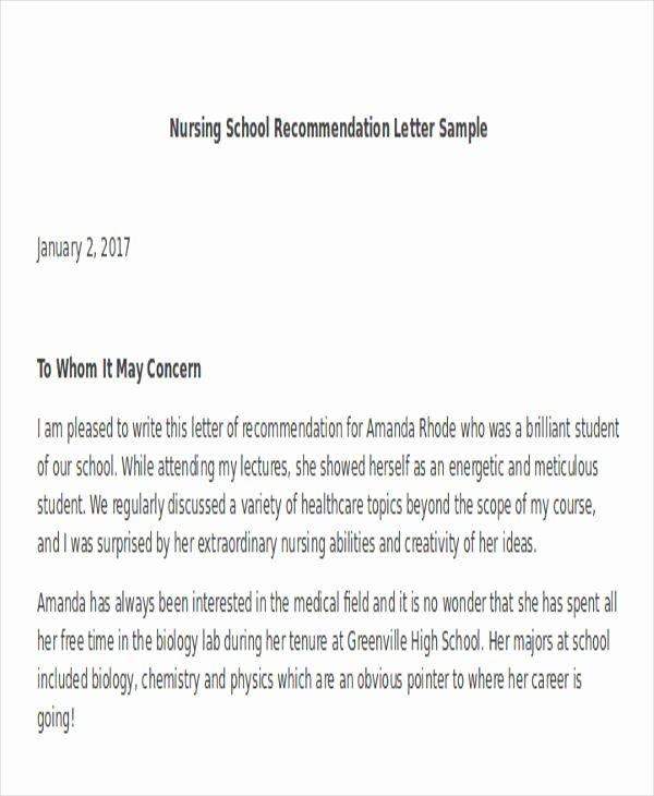 Nursing School Recommendation Letter Fresh 45 Free Re Mendation Letter Templates