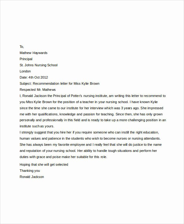 Nursing School Recommendation Letter Fresh Examples Of Re Mendation Letter