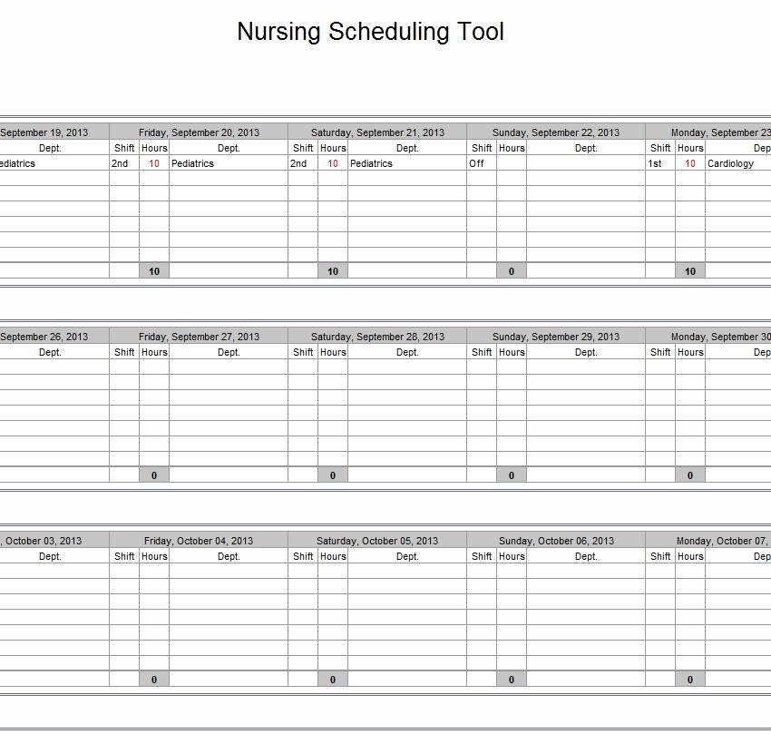 Nursing Staffing Plan Template Luxury Hospital Nurse Schedule Excel Template