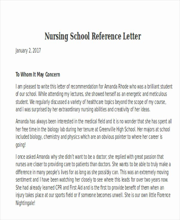 Nursing Student Recommendation Letter Lovely Nursing Reference Letter Templates 12 Free Word Pdf