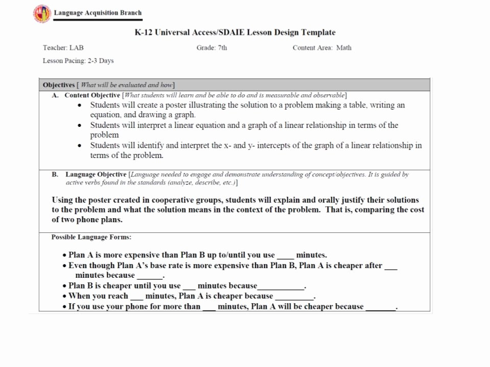 Nyc Doe Lesson Plan Template Best Of Content and Language Objectives Planning Template Math