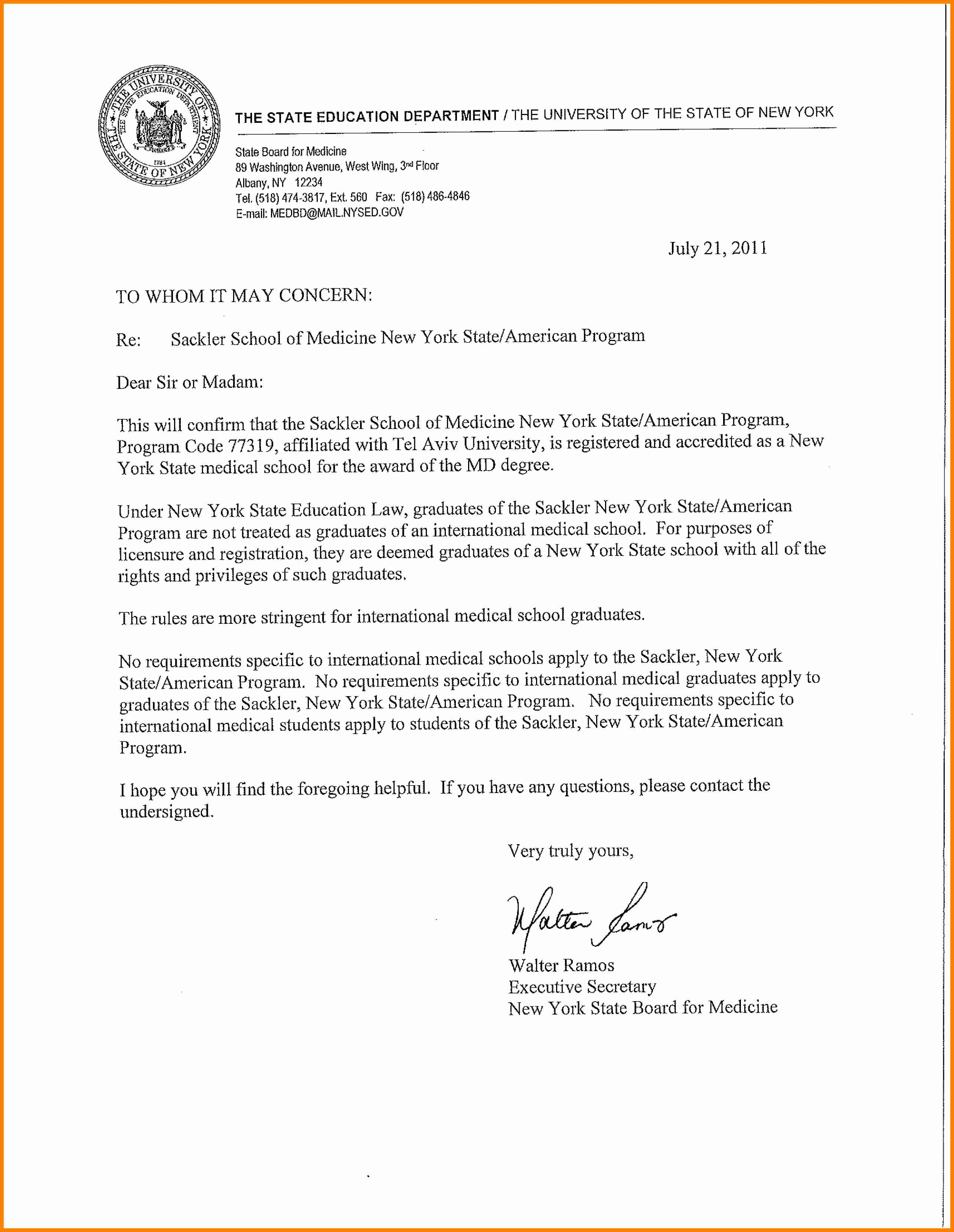 Nyu Letter Of Recommendation Best Of 12 Albany Medical College Letters Of Re Mendation