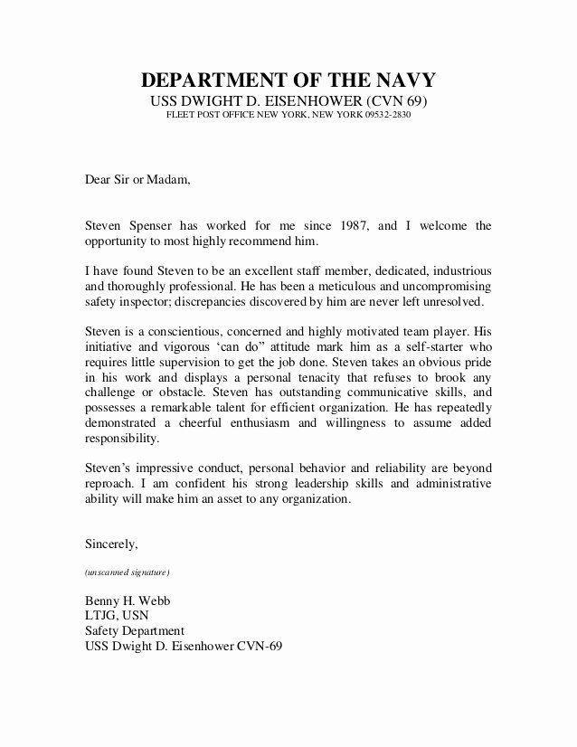 Nyu Letter Of Recommendation Inspirational U S Navy Letter Of Re Mendation 2