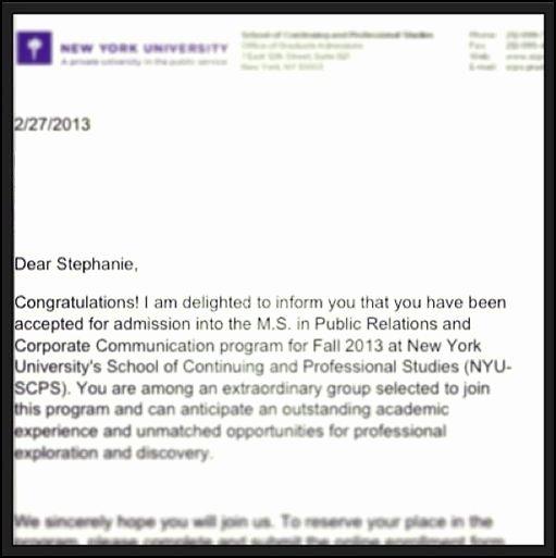 Nyu Letter Of Recommendation Unique Nyu Acceptance Letter
