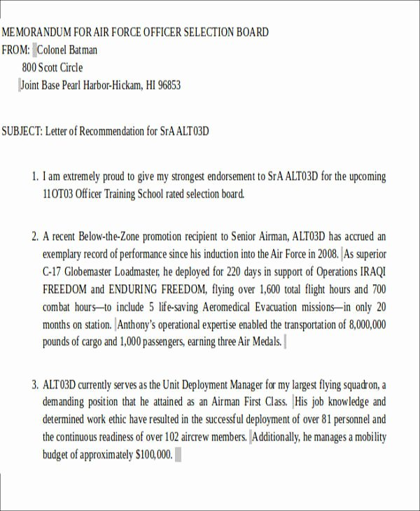 Ocs Letter Of Recommendation Best Of Sample Air force Letter Of Re Mendation 6 Examples In
