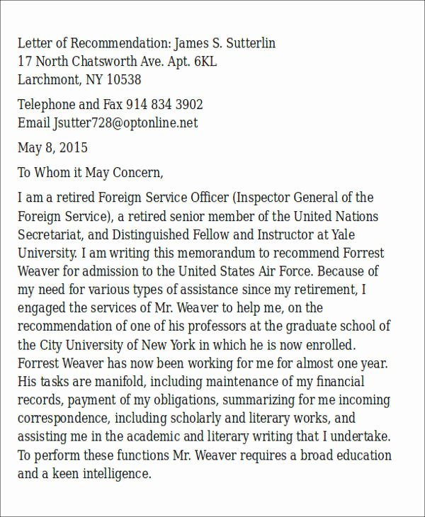 Ocs Letter Of Recommendation Example Inspirational Sample Air force Letter Of Re Mendation 6 Examples In