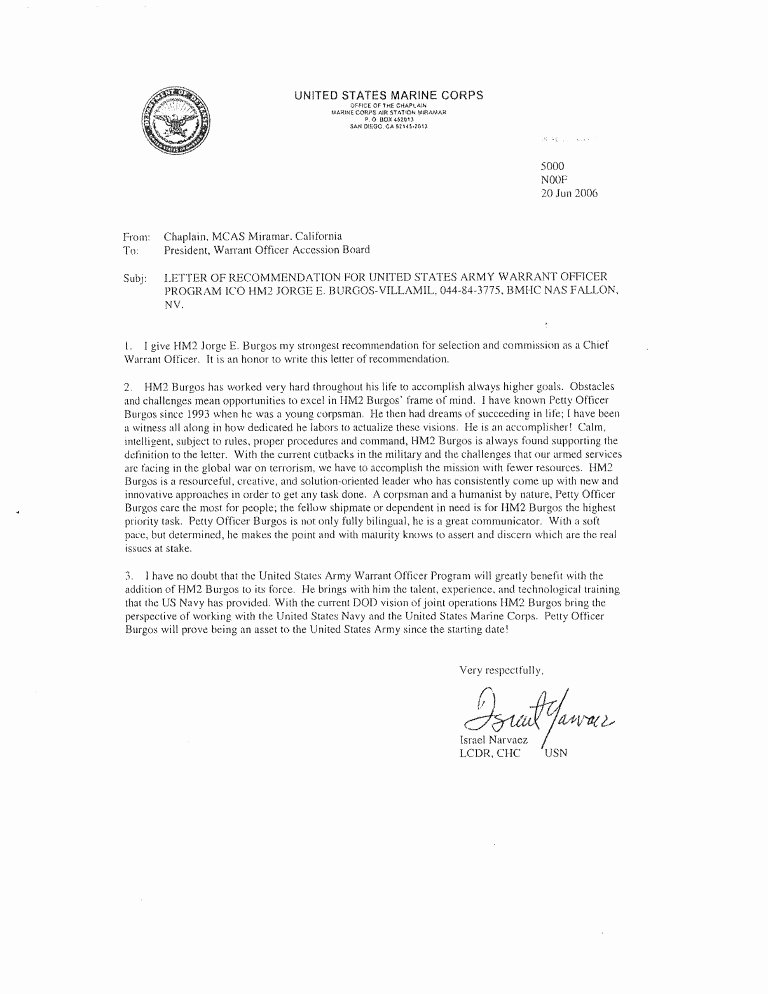 Ocs Letter Of Recommendation Example Luxury Warrant Ficer Letter Re Mendation Template