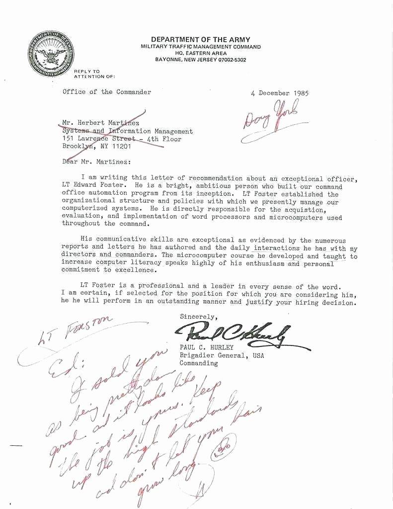 Ocs Letter Of Recommendation Fresh Warrant Ficer Letter Re Mendation Template