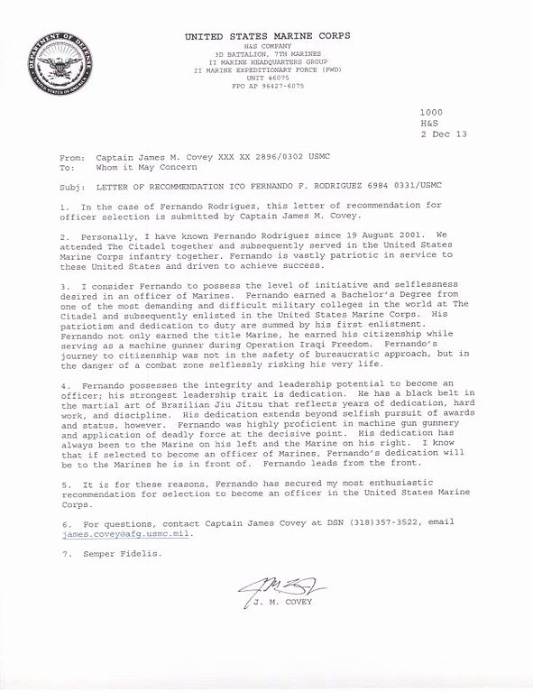 Ocs Letter Of Recommendation Unique File Fernando F S Rodrigues Usmc Ficer Letter Of