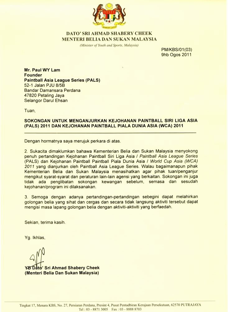 Official Letter format to Government New the Paintball World Cup asia 2011 Langkawi